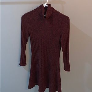 Burgundy turtleneck dress with cut out back